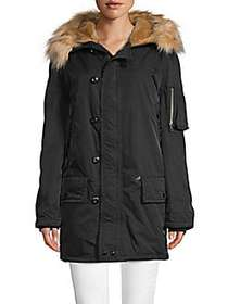 Marc Jacobs Snorkel Faux Fur-Accented Parka BLACK