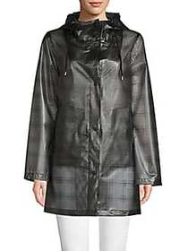 French Connection Plaid Raincoat BLACK MULTI