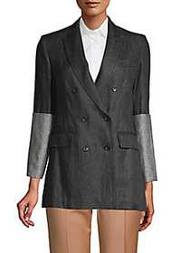 Max Mara Mentino Linen Double-Breasted Jacket BLAC