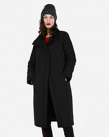 Express double breasted long puffer jacket