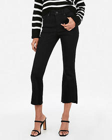 Express high waisted denim perfect black cropped f