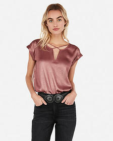 Express petite shimmery cross front gramercy tee