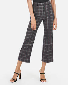 Express high waisted straight cropped plaid pants