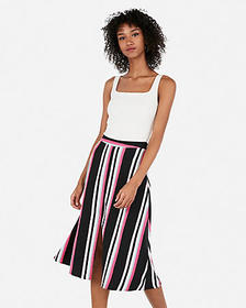 Express high waisted striped front slit midi skirt
