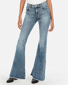 Express mid rise raw hem bell flare jeans
