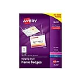 Avery ID Badge Holders, Clear with White Inserts,