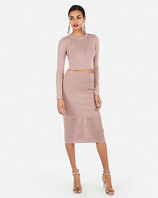 Express mesh cropped sweater