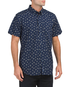 BEN SHERMAN Short Sleeve Bird Print Shirt