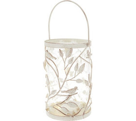 """""""As Is"""" 10.5"""" Lit Metal Vine & Hammered Glass Hurr"""