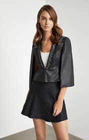 BCBG Embroidered Faux Leather Cape Top