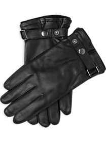 Black Leather Knit Lined Gloves