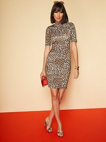 Leopard Mock-Neck Sheath Dress - New York & Compan