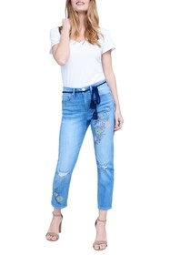 Seven7 High Rise Embroidered Straight Leg Jeans
