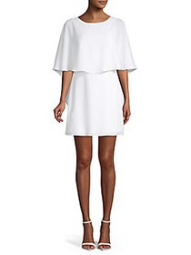 BCBGMAXAZRIA Jamey Short Cape-Sleeve Dress WHITE