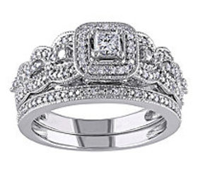 Affinity 1/2 cttw Princess Cut & Round DiamondSet,
