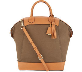 """""""As Is"""" G.I.L.I Large Canvas Shopper w/ Leather Tr"""