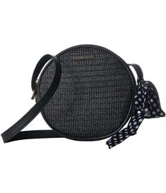 Rampage Straw Canteen Crossbody with Bow Scarf