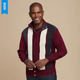 Men's Vertical Stripe Hidden-Zip Sweater