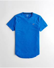 Hollister Textured Curved Hem T-Shirt, BLUE