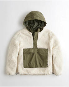 Hollister Sherpa Half-Zip Anorak, CREAM