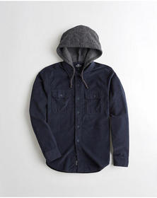 Hollister Hooded Corduroy Shirt, NAVY