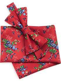 Pronto Uomo Red Floral Bow Tie & Pocket Square Set