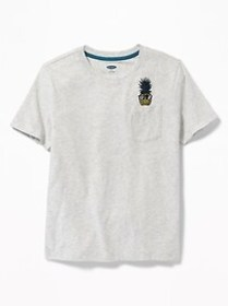 Relaxed Embroidered-Graphic Pocket Tee for Boys