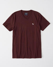 Short-Sleeve Icon V-Neck Tee, BURGUNDY