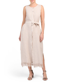 LUNGO L'ARNO Made In Italy Striped Linen Maxi Dres