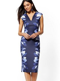 Tall Floral V-Neck Scuba Sheath Dress - 7th Avenue