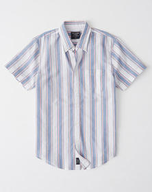 Short-Sleeve Button-Up Shirt, BLUE AND PINK STRIPE