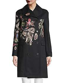 Valentino Animal Embroidery Double-Breasted Trench
