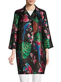 Valentino Floral Notch-Collar Coat BLACK MULTI