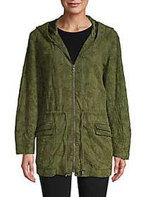 Alice + Olivia Embroidered Hooded Jacket OLIVE