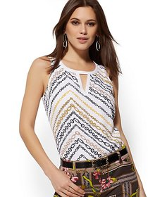 Link-Print Chiffon-Overlay Sleeveless Top - New Yo