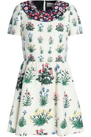 VALENTINO Gathered floral-print wool and silk-blen