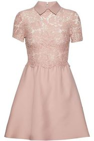 VALENTINO Lace-paneled wool and silk-blend crepe m