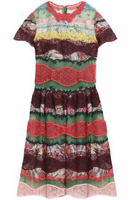 VALENTINO Point d'esprit and lace-paneled printed