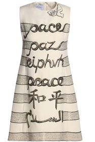 VALENTINO Embellished embroidered wool and silk-bl