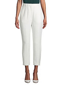 Alexander McQueen Flat-Front Buttoned Pants WHITE