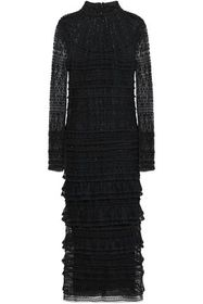 VALENTINO Tiered embellished silk-tulle and lace m