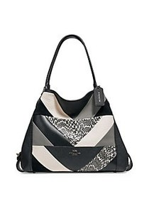 COACH Edie 31 Patchwork Leather& Snakeskin Shoulde