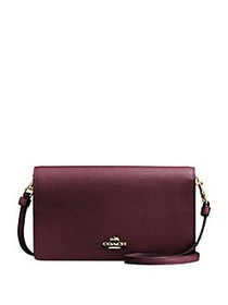 COACH Foldover Leather Convertible Clutch OXBLOOD
