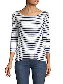 Elizabeth and James Striped Cotton Top WHITE