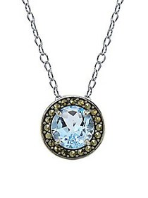 Lord & Taylor Marcasite and Blue Topaz Halo Pendan