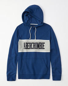 Colorblock Graphic Hoodie, BLUE