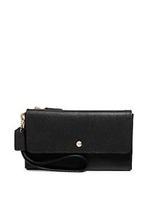 COACH Triple Small Leather Wallet BLACK