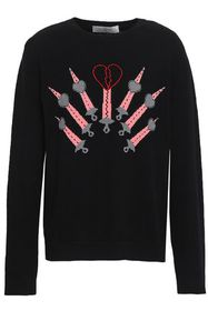 VALENTINO Embroidered wool and cashmere-blend swea