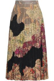 VALENTINO Pleated printed suede and lace-paneled m