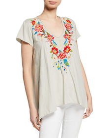 JWLA for Johnny Was Samira Embroidered Draped Top